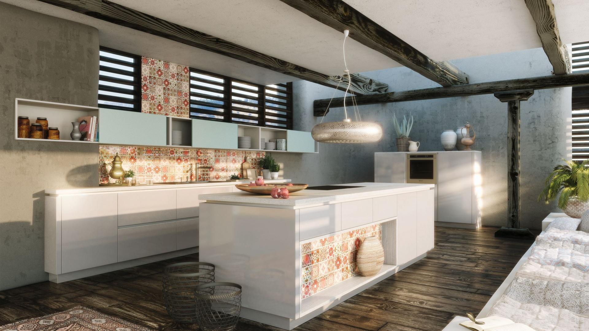 Połączenie jasnoszarych, lakierowanych frontów ze szklanymi powierzchniami z motywem tradycyjnych kafli nadaje kuchni z programu ALNOSTAR SIGN niepowtarzalny charakter. Na zamówienie. Fot. Alno