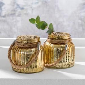 Lampiony w efektownym złotym kolorze z efektem postarzenia. Fot. Halens