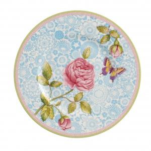 Na porcelanie z kolekcji Rose Cottage współgrają pastelowe odcienie różu, błękitu i limonki. Ozdobiona romantycznym dekorem w róże, idealna na popołudniową herbatkę. 99 zł/talerz. Fot. Villeroy & Boch