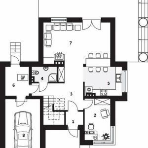 PARTER: 1. wiatrołap - 2,10 2. pokój-gabinet - 9,70 3. komunikacja - 16,00 4. łazienka - 3,30 5. kuchnia - 9,70 6. kotłownia - 6,20 7. salon - 25,80 8. garaż - 18,80