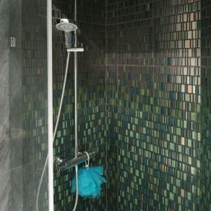 Zielona mozaika to wyjątkowo dekoracyjny element łazienki. Wyłożono nią wnękę prysznicu, który został zamontowany bez typowej kabiny i brodzika. Projekt Monika i Adam Bronikowscy. Fot. Bartosz Jarosz