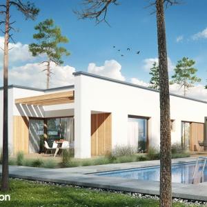 Dom w hurmach – wyjątkowy projekt domu parterowego z płaskim dachem i dwustanowiskowym garażem, o minimalistycznej bryle zaprojektowanej na planie prostokąta. Projekt: Archon+.