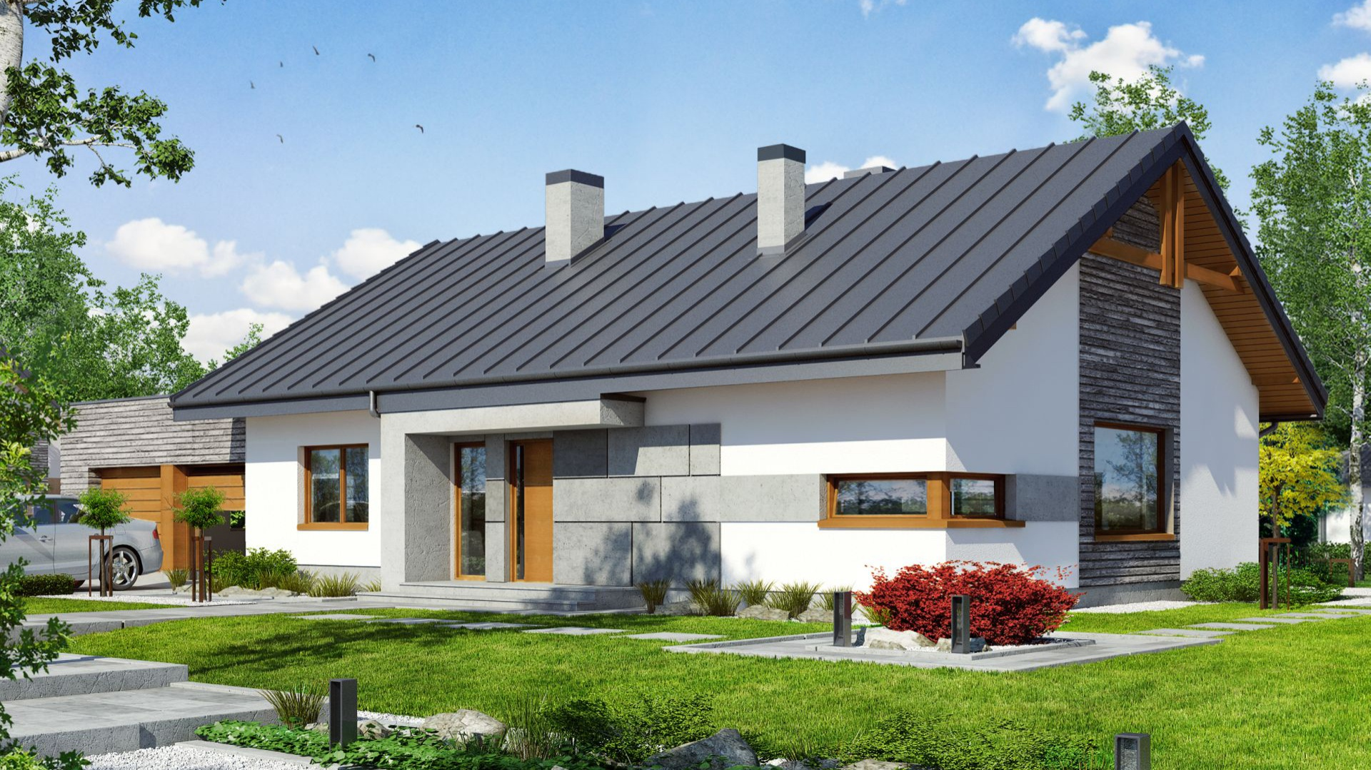 """Dom pod jarząbem 8 G2N - to przykład projektu domu parterowego z  dwustanowiskowym garażem i dwuspadowym dachem, o zwartej bryle, na planie prostokąta, w """"stylu stodoły"""". Projekt: Archon+."""