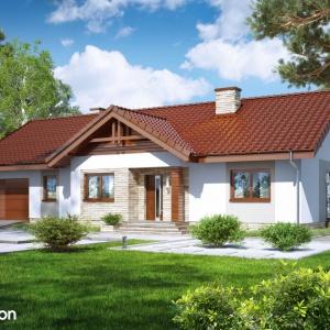 Dom w leszczynowcach 3 - to przykład tradycyjnego projektu domu parterowego z dachem dwuspadowym i jednostanowiskowym garażem. Klasyczny styl bryły o wydłużonej formie podkreślono stonowaną kolorystyką tynków i okładzin.Projekt: Archon+.