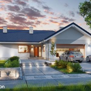 Dom w lonicerach (G2) - to projekt  domu parterowego z dwuspadowym dachem i dwustanowiskowym garażem, o rozłożystej bryle. Projekt: Archon+.