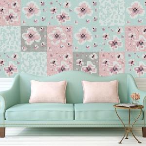 Kolekcja mozaiki Ogród autorstwa Aleksandry Harazin. Koncept florystyczny zaprojektowano na wzór systemu modułowego w pięciu wariantach kolorystycznych. Wśród nich są m.in. subtelne pastele - mięta i róż. Fot. Trufle Mozaiki
