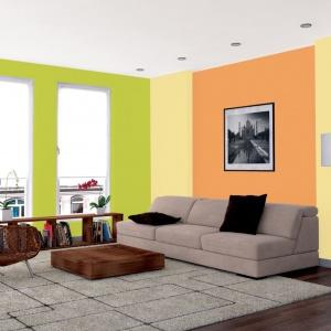 Jasna zieleń w połączeniu z ciepłym odcieniem pomarańczy to propozycja dla miłośników stonowanych aranżacji. Fot. Jedynka