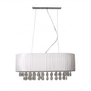 Lampa wisząca LUNA WHITE OVAL to propozycja do sypialni elegantki. Abażur z tkaniny zdobią kryształki. 499 zł. Fot. Black Red White