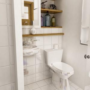 W łazience również znalazły się detale i dekoracje nawiązujące do lat pięćdziesiątych. Projekt: arch. Maja Klimowicz, Fot. Dom Dla Ciebie – Pracownia Projektowa Archeco