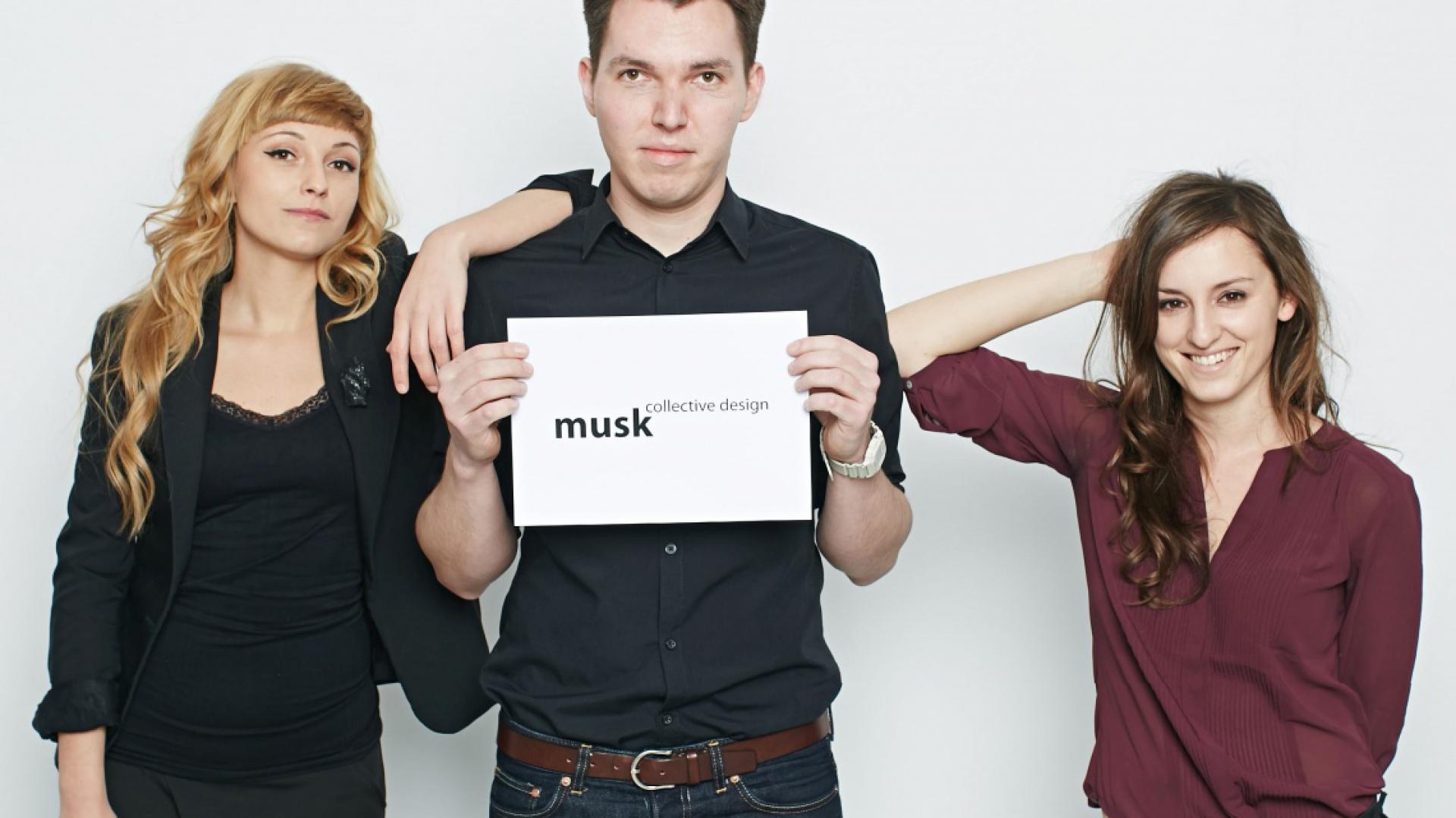 Weronika Kiersztejn, Józek Madej i Katarzyna Sąsiadek z biura projektowego Musk Collective Design.