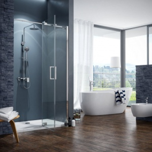 Kabina Colors, zestaw prysznicowo-wannowy Rain Altar, wc i bidet Doto, wanna Comfort+, bateria wannowa wolno stojąca Oxalia. Fot. Excellent