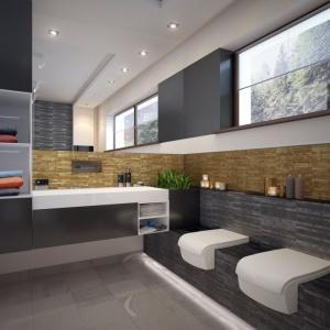 Na piętrze zaplanowano duży, przestronny salon kąpielowy, z którego korzystać mogą dwie osoby jednocześnie. Proj. Nowik, Fot. Archetyp