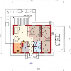 PARTER: 1. Wiatrołap 2.55 m2 2. Hol 10.31 m2 3. Kuchnia 7.77 m2  4. Pokój dzienny, jadalnia 27.07 m2  5. Toaleta 1.61 m2  6. Sypialnia 14.19 m2  7. Sypialnia 11.01 m2  8. Sypialnia 11.01 m2  9. Łazienka 6.94 m2  10. Kotłownia 5.47 m2  11. Wiata garażowa 25.06 m2 Projekt: Kornel VI (z wiatą) ENERGO, Fot. Pracownia Projektowa Archipelag