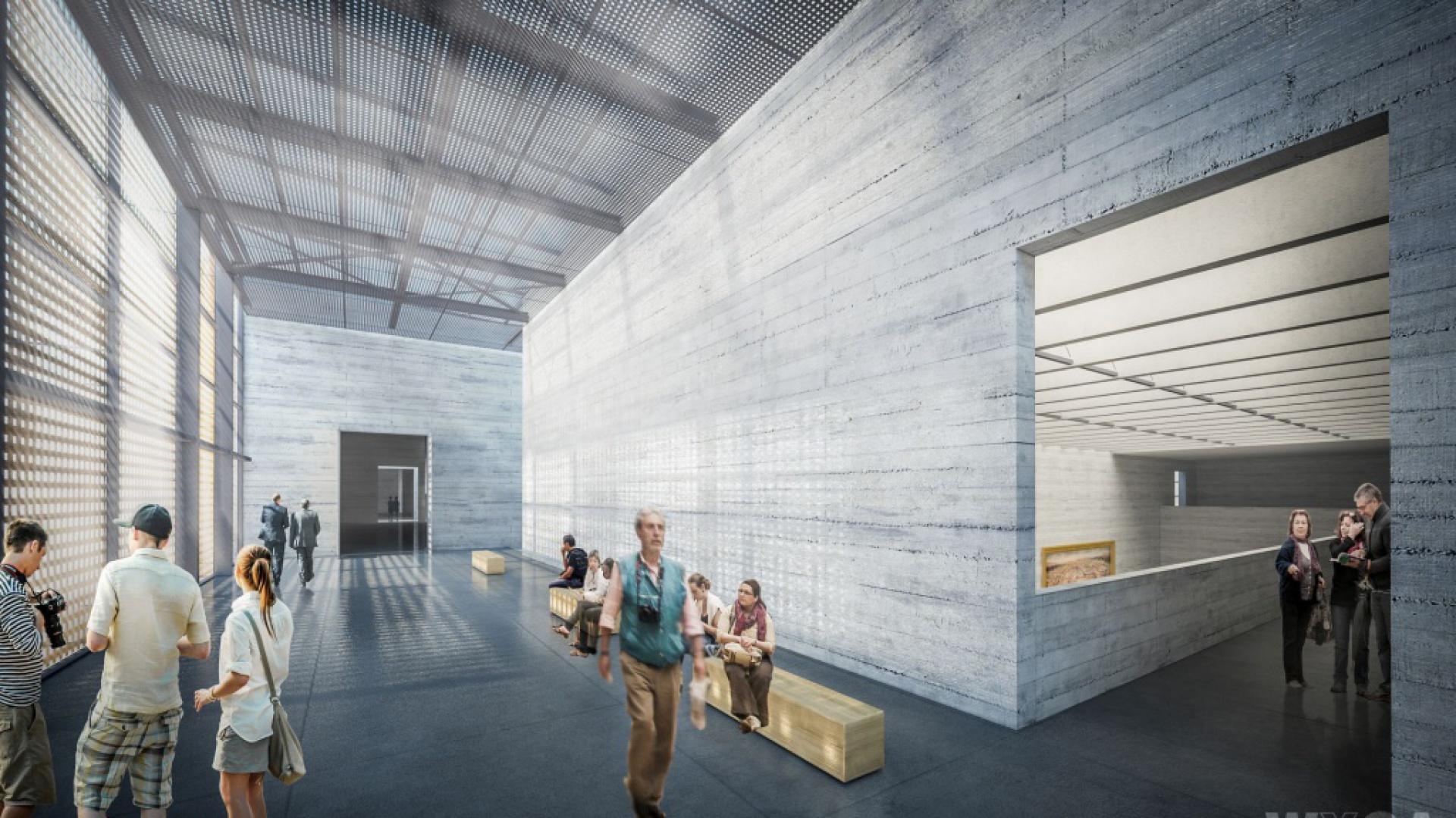 Muzeum Historii Polski, budynek główny muzeum, przestrzeń wypoczynku, wizualizacja WXCA.