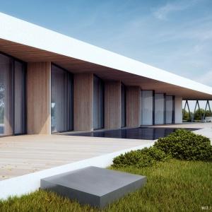 Zadaszenie powoduje skos dachu, który zwęża się od strefy dziennej do strefy sypialnianej. Tym samym taras przy salonie zyskuje najwięcej zadaszonej przestrzeni, przy której można odpocząć. Projekt: 81.waw.pl. Wizualizacja: Michał Nowak