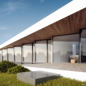 Elewacja jest bardzo modułowa. Każde z okien można otworzyć, a dzięki charakterystycznemu układowi, mogły pojawić się przy nich mini tarasy. Całe wykonane są z drewna – posadzka, sufit i ścianki. Projekt: 81.waw.pl. Wizualizacja: Michał Nowak