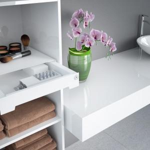 """Oprócz domowników, z łazienek korzystają również goście, którzy nie muszą znać wszystkich naszych """"sekretów"""".  W dyskretnej izamykanej szufladzie schowamy lekarstwa, do których dostępu nie powinny mieć również dzieci. Fot. Hettich"""
