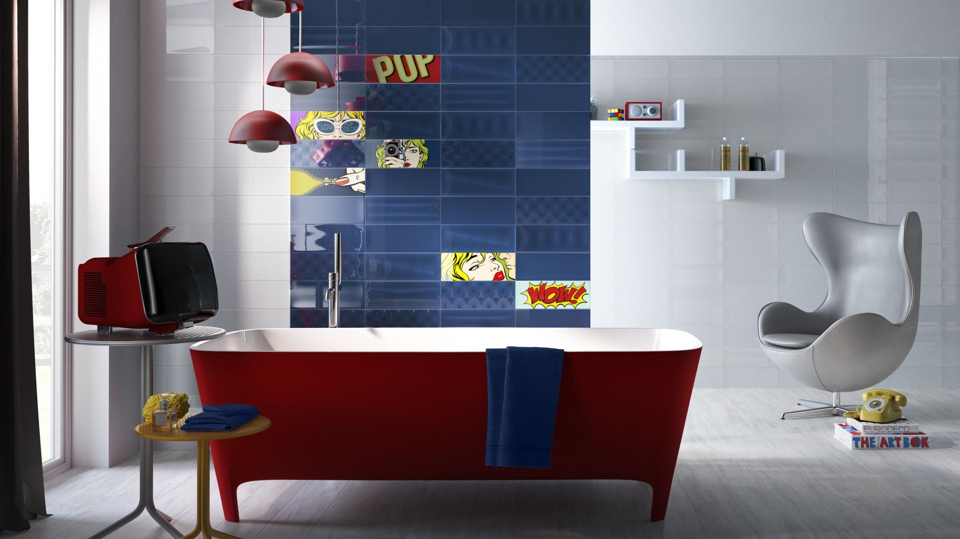 Wzory płytek dekoracyjnych z kolekcji POP  inspirowane są twórczością Roya Lichtensteina, twórcy słynnych popartowskich komiksowych obrazów. Fot. Imola Ceramica