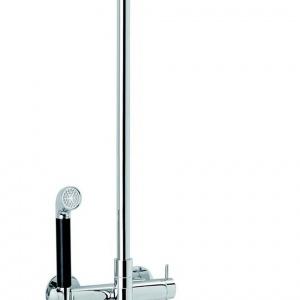 Termostat prysznicowy A-PEX z deszczownicą i słuchawką prysznicową, wykończenie chrom/czarne, słuchawka wykonana z metalu, możliwość równoczesnego korzystania z deszczownicy i słuchawki, deszczownica i drążek prysznica obracane w zakresie 60°. Cena: 6.339,42 zł