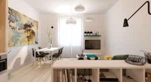 W tym wnętrzu odnajdą się wszyscy miłośnicy bieli i kolorów z jasnej palety barw. Zobaczcie piękne mieszkanie z otwartą strefą dzienną.