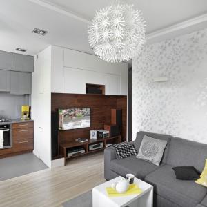 Połączenie salonu z kuchnią zaowocowało optycznym powiększeniem przestrzeni. Oba pomieszczenia idealnie współgrają ze sobą, dzięki podobnym kolorom mebli i dodatków. Fot. Bernard Białorucki