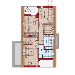 Poddasze: 1. Korytarz 5.33 m2  2. Sypialnia 15.32 m2  3. Łazienka 7.60 m2  4. Garderoba 6.26 m2  5. Sypialnia 13.59 m2  6. Sypialnia 12.68 m2  7. Łazienka 5.25 m2 Projekt: Riko III G2, autor: arch. Artur Wójciak, Fot. Pracownia Projektowa Archipelag