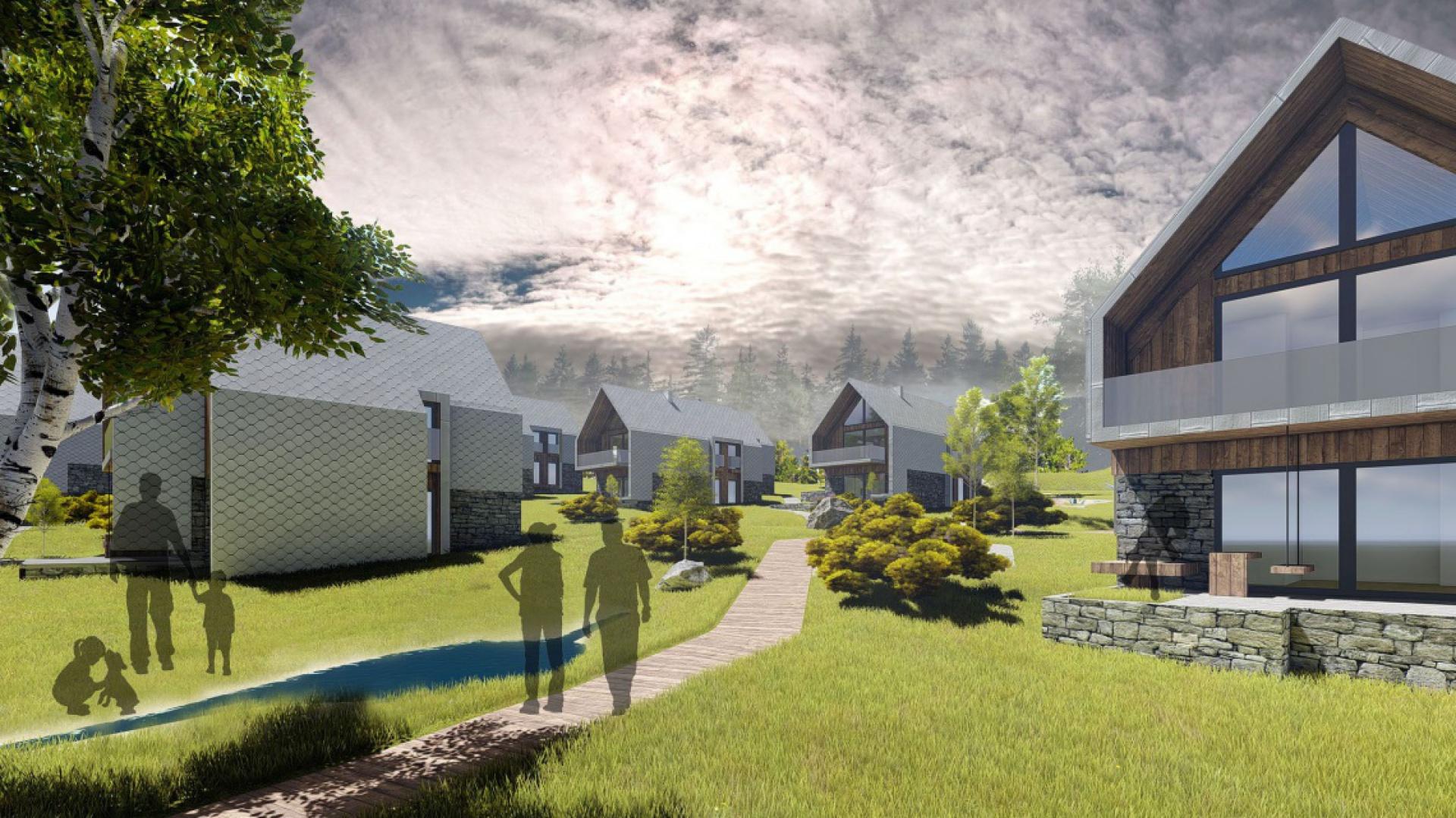 Active Village w Karpaczu, wizualizacja pracowni architektonicznej Gravitacja