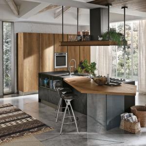 Wzornictwo kuchni INFINITY to geometryczne formy, nowoczesne linie i funkcjonalność dzięki uchwytowi zamontowanemu bezpośrednio na drzwiach, zakończonych ścięciem pod kątem 40º. Fot. Stosa Cucine