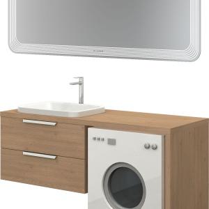 Propozycja praktycznej zabudowy pralki i lustro Noclaf Roseti.