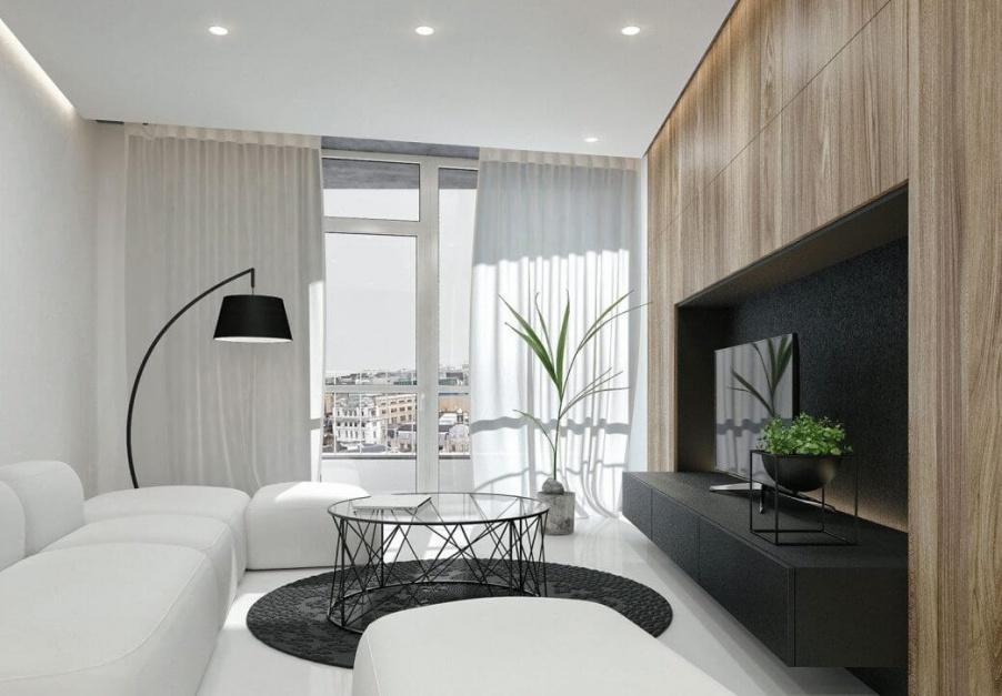 Strefa dzienna zaaranżowana...  Nowoczesne mieszkanie w czerni i bieli. Zobacz piękny projekt ...