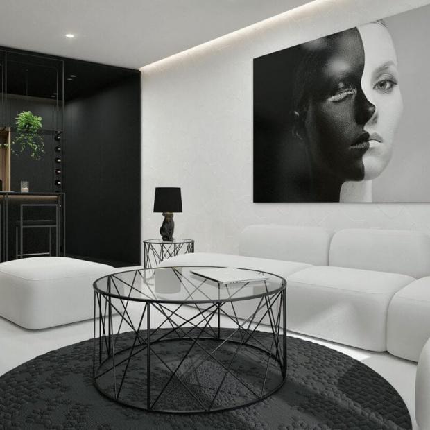 Nowoczesne wnętrze w czerni i bieli. Piękny projekt!