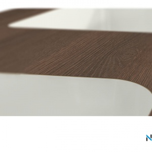 Umywalki zintegrowane zamontowane są pod laminatem o grubości 0,7 mm.