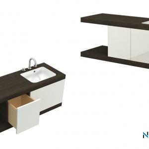 Unikatowe meble zaprojektowane z wykorzystaniem umywalki zintegrowanej z blatem LEI.