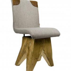 Wykonane ręcznie krzesło NA BAZIE ma szare siedzisko osadzone na solidnej drewnianej podstawie. 1.190 zł, Gie-el / Dawanda