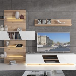 Kolekcja Hulon to nowoczesna meblościanka łącząca biel i drewno. Fot. Meble Forte