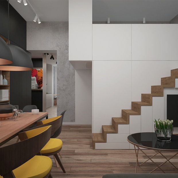 Projekt nowoczesnego mieszkanie w kamienicy