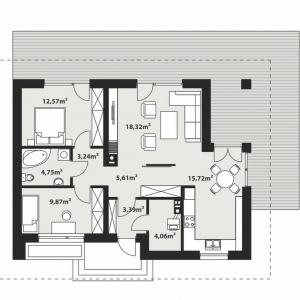 PARTER: 1. sień - 3,39 m² 2. hol - 5,61 m² 3. pokój - 9,87 m² 4. komunikacja - 3,24 m² 5. łazienka - 4,75 m² 6. pokój - 12,57 m² 7. salon - 18,32 m² 8. kuchnia + jadalnia - 15,72 m² 9. kotłownia - 4,06 m²