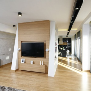 Ścianka telewizyjna w drewnie to jedno z najmodniejszych rozwiązań. Projekt: Monika i Adam Bronikowscy. Fot. Bartosz Jarosz