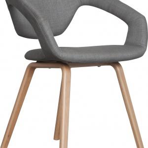 Wygodny i sprężysty fotel FLEX BACK z szarą tapicerką i nóżkami z drewna bukowego 1.136 zł. Fot. Zuiver