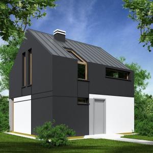 Bezokapowy system konstrukcji dachu pozwala na ciekawe wykończenie bryły domu. Tu blacha to zarówno pokrycie dachowe, jak również wykończenie ścian. Projekt domu bez okapu Passiv 50. Fot. ArtHauss