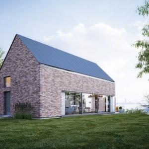 Również tradycyjne wykończenie ścian z klinkieru dobrze prezentuje się z dachem bez okapu. Fot. Galeco