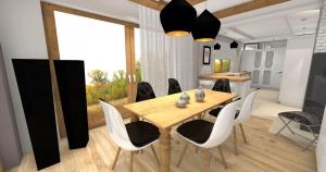 salon z otwartą kuchnią