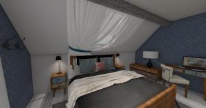 Sypialnia z kropla błękitu