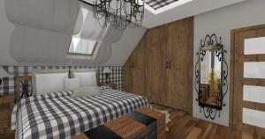 sypialnia w kratkę