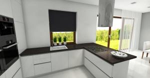 salon z otwarta kuchnią i jadalnia w szarościach z dodatkiem drewna