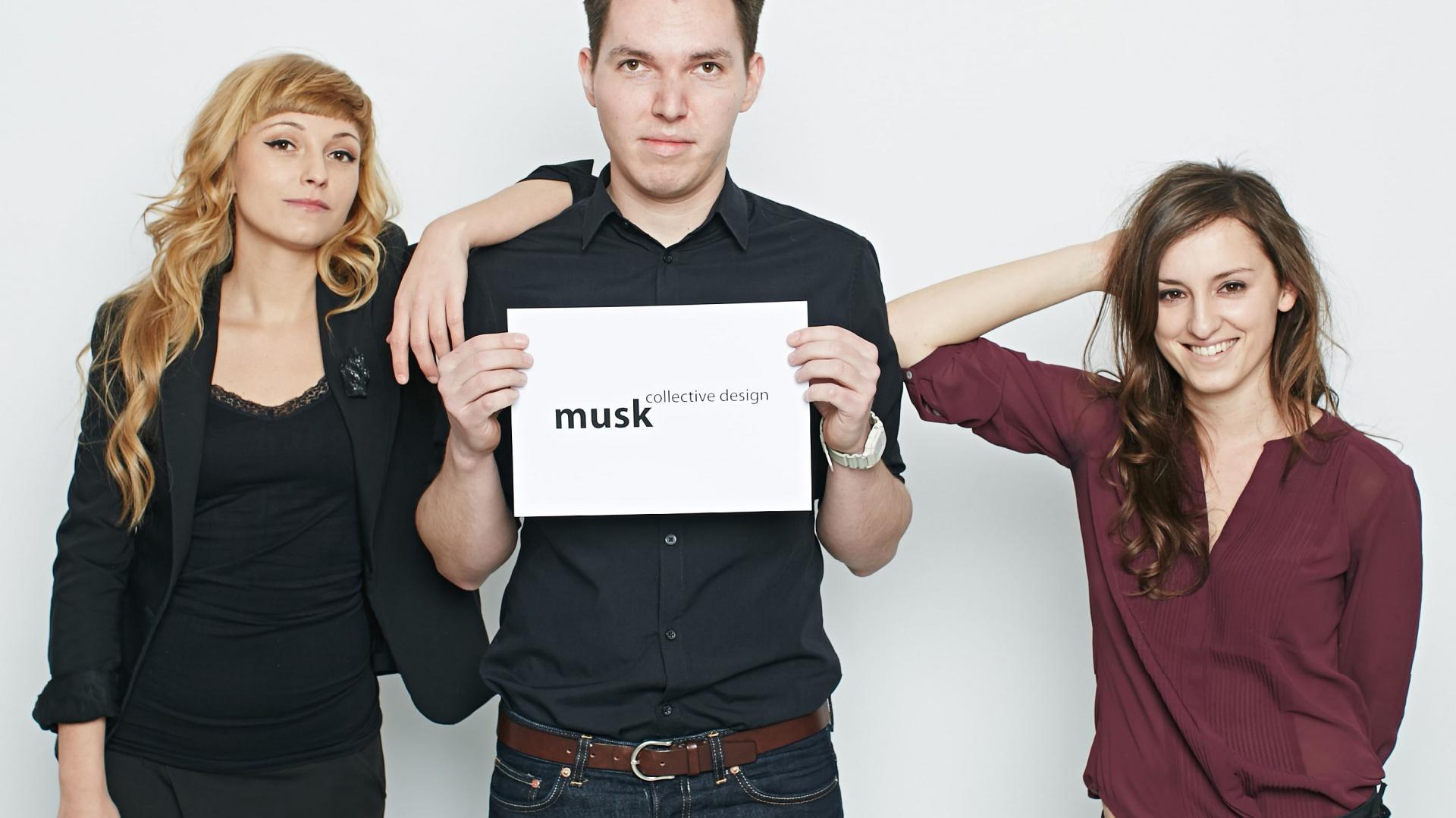 Musk collective design tworzą (od lewej): Katarzyna Sąsiadek, Józek Madej, Weronika Kiersztejn.
