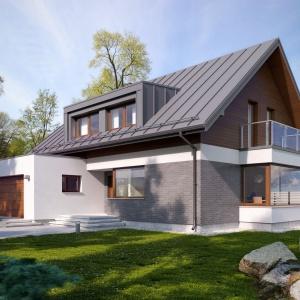 Nowoczesny dom parterowy z poddaszem użytkowym i dwustanowiskowym garażem będzie optymalnym rozwiązaniem dla 4-5-osobowej rodziny. Fot. Archetyp