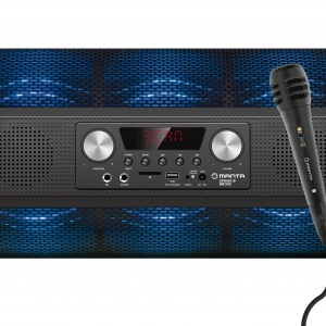 Zestaw SPK95019 BRONX  Party Power Bass Bluetooth Premium Wbudowany potężny subwoofer oraz dwa głośniki stereo, korektor barwy dźwięku; mikrofon i wejście gitarowe. Pozwala odtwarzać pliki AAC, MP3, WAV, WMA, FLAC z karty pamięci SD lub nośników wymiennych USB. 699 zł. Fot. Manta
