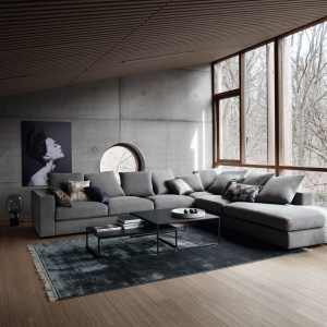 Sofa narożna CENOVA z szezlongiem, tapicerowana tkaniną w różnych kolorach; 85x366x285 cm. Fot. BoConcept