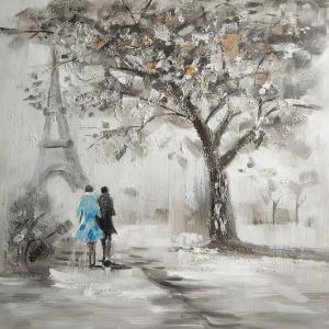Obraz TAISA przedstawiający spacerującą po Paryżu parę, z wyraźnymi grubymi warstwami farby, tworzącymi interesującą strukturę. 60x60 cm. Fot. Eurofirany